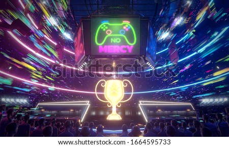 No mercy, E-sport arena in the speed of colorful light , 3d rendering illustration. Photo stock ©