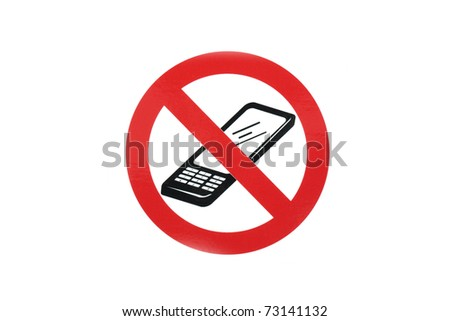 no mobile cell phone sign in white background