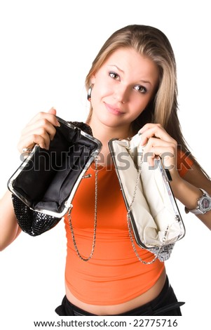 No money in purses. Young woman isolated on white.