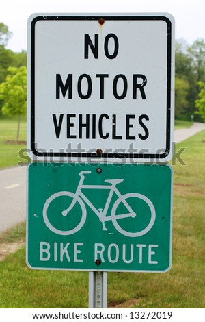 No Motor Vehicles Sign At The Beginning Of A Bike Trail Stock Photo 13272019 Shutterstock