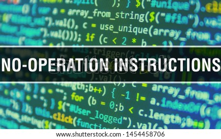 NO-OPeration instructions concept illustration using code for developing programs and app. NO-OPeration instructions website code with colorful tags in browser view on dark background. NO-OPeration