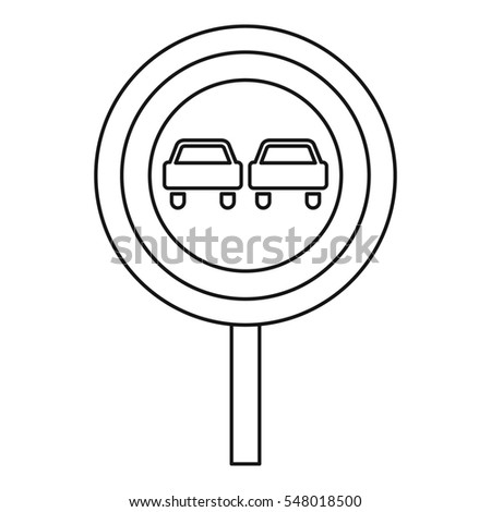 No overtaking road sign icon. Outline illustration of no overtaking road sign  icon for web