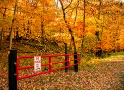 No parking sign fence at the natural park, colorful autumn trees and fallen foliage on the ground
