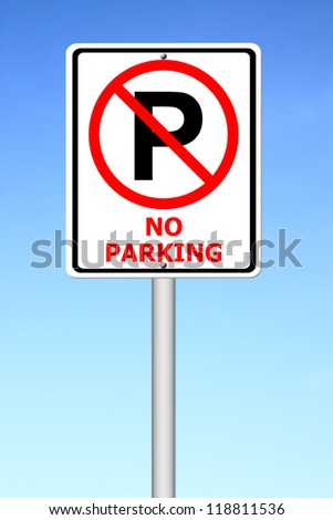 no parking sign with blue sky background