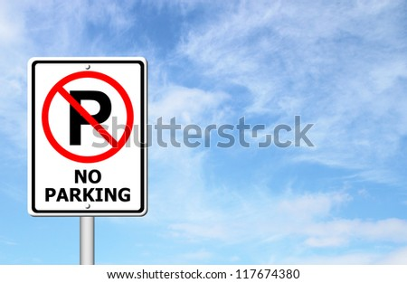 No parking sign with blue sky blank for text
