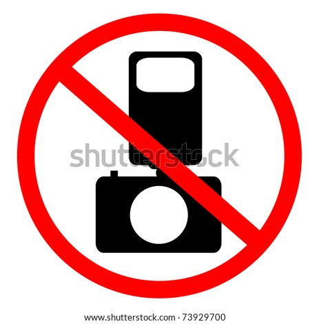 No photo and flash sign