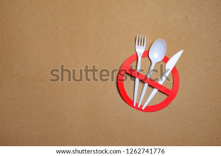 No Plastic Cutlery, Plastic Pollution and Environmental Protection Concept, Top View #1262741776