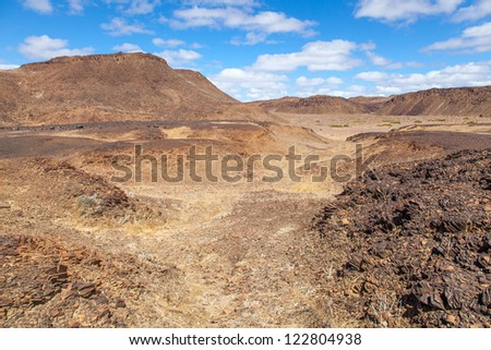 No sign of life. Desolation and beauty of Damaraland in Namibia.