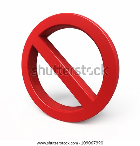 no sign symbol render (clipping path and isolated on white)