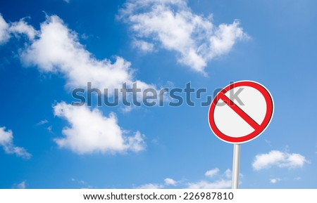 no sign with sky background and copy space for your message