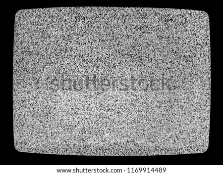 No signal TV texture. Television grainy noise effect as a background. No signal retro vintage television pattern. Interfering signal in analog television. #1169914489