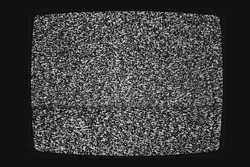 No signal vintage black and white tv screen