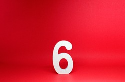 No 6 ( Six ) Isolated red  Background with Copy Space - Number 6 Percentage or Promotion success Concept - Mock up Resource