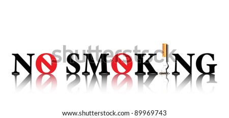No Smoking concept with the i in smoking being replaced by a stubbed out cigarette &the o being replaced by a forbidden sign. On white background with space for text.Also available in vector format.