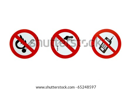 no smoking, no gas dropping and no cell phone signs on a white background