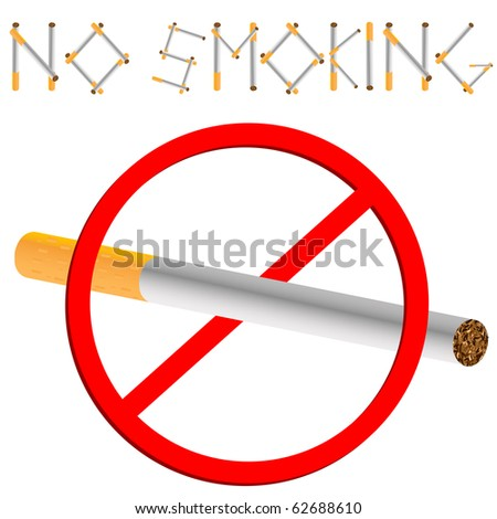 no smoking sign against white background, abstract art illustration; for vector format please visit my gallery - stock photo