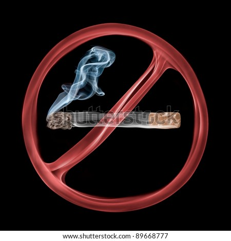 No smoking sign created from colorful smoke.