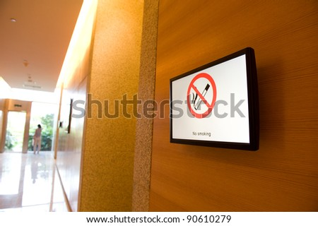 No smoking sign in a television of conference center.