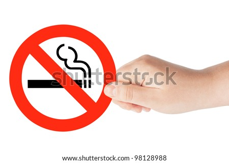 No Smoking Sign in the hand on the white background