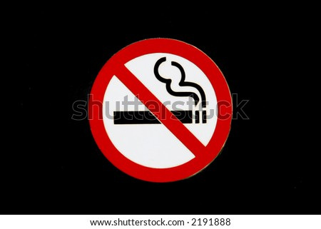 No smoking sign, isolaged on a black background, closeup with copy space