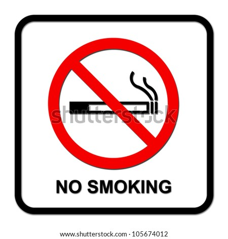 no smoking sign on white background - stock photo