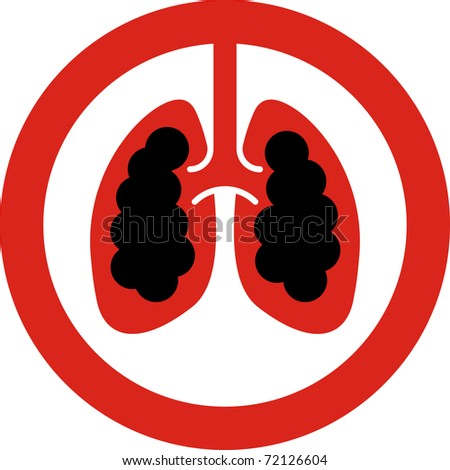 No smoking sign with lung cancer concept in JPG