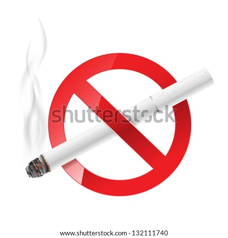 no smoking sign with white cigarette