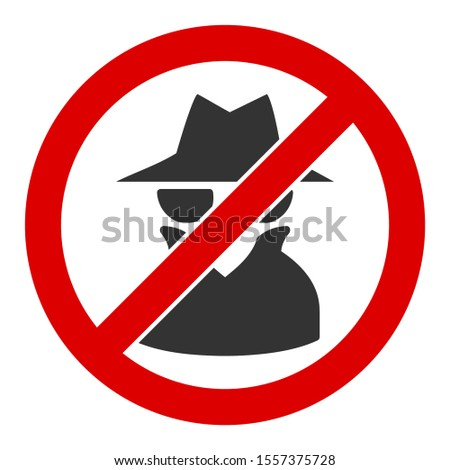 No spy raster icon. Flat No spy symbol is isolated on a white background. Foto stock ©