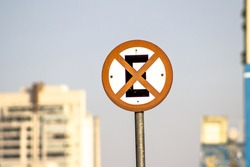 No Stopping sign (Brazilian) in Sao Paulo city