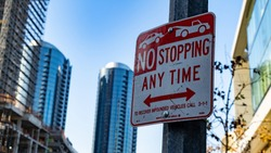No stopping/towing sign in DownTown Los Angeles