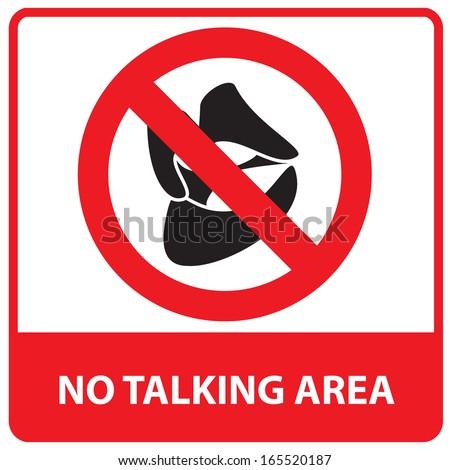 No Talking Area Sign.Jpg Stock Photo 165520187 : Shutterstock