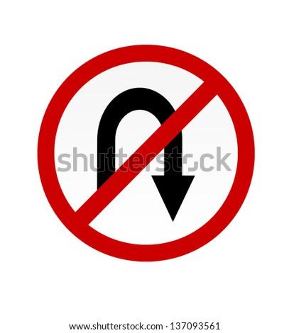 No u turn  road symbol sign