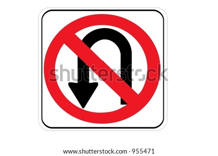 no u turn sign isolated on a white background stock photo