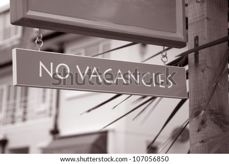 No Vacancies Sign outside of Hotel - stock photo