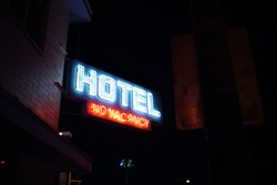 No Vacancy Hotel/ Motel Sign Downtown