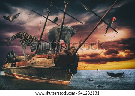 "Noahs Ark Fantasy Animal Ship. Several exotic animals traveling on a old wooden ship. Biblical Noah's ark, or environmental meaning. All original images edited together without any ""reference image""."