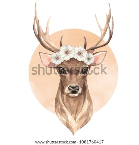 Noble deer. Spring watercolor illustration