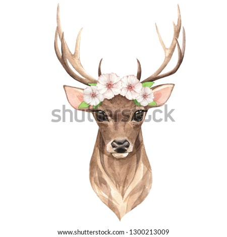 Noble deer with white flowers. Watercolor illustration