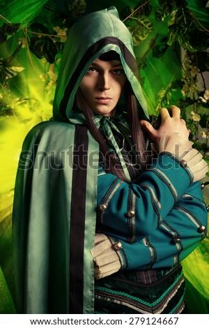 Noble fairy elf in the magic forest. Fantasy. Fairy tale, magic.