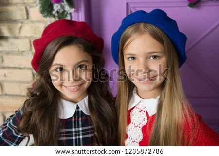 Noble lady concept. Girls french little kids smiling face posing in hats. How wear french beret. Beret style inspiration. How to wear beret like fashion girl. Fashionable beret accessory for female.