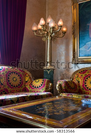 Noble Living Room with baroque Table and Seats