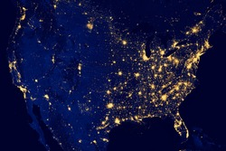 Nocturnal aerial view of the U.S.A. , Highways lighted.N.A.S.A. Public Image Edited.