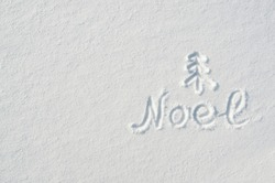 Noel letters, twig tree mark handdrawn on flat snow surface. Nice christmas holiday square postcard, greeting card  template. Empty space for copy, text, lettering.