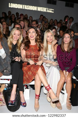 Noelle Reno, Kelly Brook, Laura Whitmore at London Fashion Week Spring/Summer 2013 - Bora Aksu - Front Row.   14/09/2012 Picture by: Henry Harris