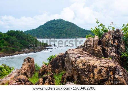 Noen Nangphaya Viewpoint, this famous viewpoint and landmark of Chanthaburi, Thailand. This viewpoint to see the mountains, rocky cliff, islands and sea #1500482900