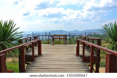 Noen Sawan Viewpoint, Srinakarin National Park, Kanchanaburi Province, Thailand.(Thai signboard says Noen Sawan viewpoint, Srinakarin National Park) #1501000667