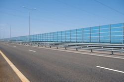 Noise barrier wall on a highway