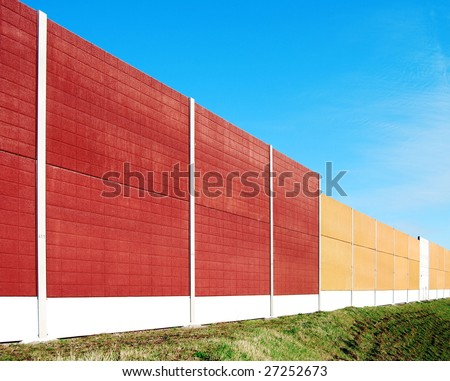 Noise barrier wall on a highway in Germany