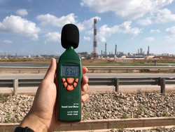 Noise monitoring using sound level meter at a flare area at a refinery