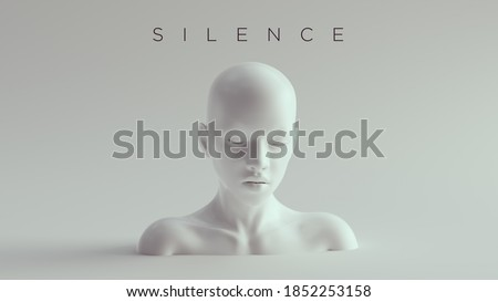 Non-Binary Silent Calm Female Male White Bust Head Back and Shoulders Front View 3d illustration Foto stock ©